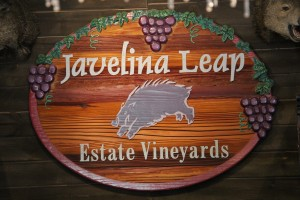 Along a beautiful road, down a valley with lush plant life, smack dab in the middle of the desert lies this completely inviting winery, Javelina Leap.
