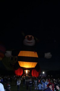 This guy, a bit hard to see, is a giant bubble bee, you can see how tall he is by the people below!  The evening was so fun and the town so entertaining.