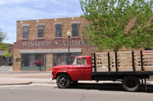 Standing on the corner of Winslow AZ, what a fine sight to see, a girl my Lord in a bright red flatbed ford slowing down to take a look at me